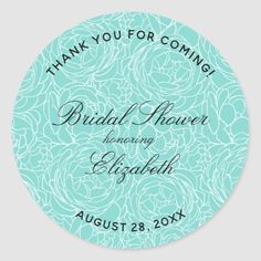 Floral Turquoise Bridal Shower Classic Round Sticker wedding printables, koozies wedding favors, wedding unities #weddingcake #weddingblog #weddingfun, christmas decorations, thanksgiving games for family fun, diy christmas decorations Wedding Invitation Kits, Wedding Favors, Diy Christmas, Christmas Decorations, Thanksgiving Games, Fun Diy, Round Stickers, Custom Stickers, Wedding Blog