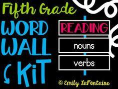 Fifth Grade Reading Word Wall Kit (Common Core) Reading Wall, Reading Words, Reading Lessons, Narrative Essay, Persuasive Essays, Elements Of Literature, Get To Know You Activities, Transition Words, 5th Grade Teachers