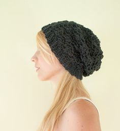 Slouchy hat beanie crocheted  mercury grey  wool by CThandmade, $22.95