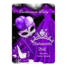 """Masquerade Quinceanera Purple Black Feather 2a 5"""" X 7"""" Invitation Card"""