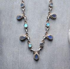 Labradorite Necklace - blue, gray, neutral, teardrop, rustic elegance, boho on Etsy, $125.00