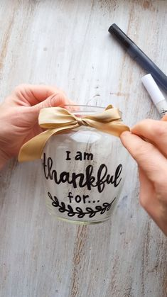 I am thankful for. I am thankful for… – DIY Thanksgiving Day jar painting idea. Creative DIY project from Artistr Crafts With Glass Jars, Glass Bottle Crafts, Mason Jar Crafts, Mason Jar Diy, Glass Craft, Bottle Painting, Jar Painting, Paint Pens For Rocks, Diy Gifts For Mom