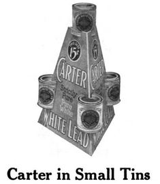 This is a 1916 advertising image for Carter White Lead paint in tins.