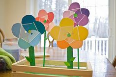 Get the kids to make some paint chip flowers