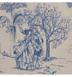 Toile de Jouy blue fabric