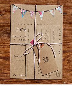 Like the idea of wrapping your invitations in bakers twine.