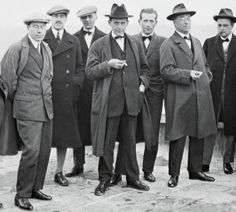 Walter Gropius (centre, with cigarette) poses on the roof of the Dessau Bauhaus building with other teaching staff in 1926 (detail).