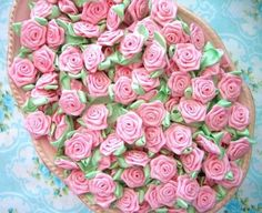 Pink and Mint Satin Baby Rose Embellishments