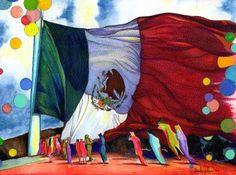 """Saatchi Online Artist daniel levy; Drawing, """"gatos con bandera mexicana."""" #art"""
