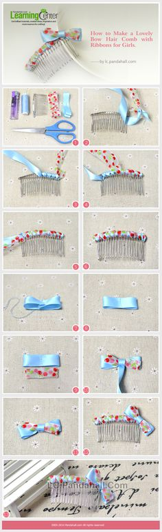 How to Make a Lovely Bow Hair Comb with Ribbons for Girls by Jersica Lovely Tutorials, Jewelry Making Tutorials, Flower Hair Clips, Flowers In Hair, Making Fabric Flowers, Kanzashi, Diy Headband, Headbands, Making Hair Bows