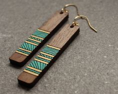 Lines Earrings - Teal - Earrings - Handmade wood jewelry - Joyo - 1