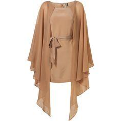 LIMITED EDITION Angel Wing Kimono Dress** (1.165 BRL) ❤ liked on Polyvore featuring dresses, vestidos, tops, short dress, women, short dresses, beige dress, tie waist dress, short fitted dresses and fitted mini dress