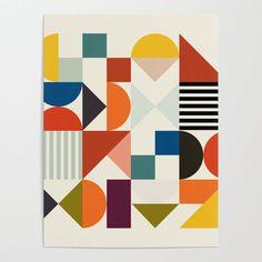 Mid Century Retro Shapes Geometric Art Poster by Ana Rut Bre - X Geometric Poster, Geometric Shapes, Shape Posters, Art Posters, Art Journal Backgrounds, Environmental Graphic Design, Diy Frame, Retro Design, Vector Art