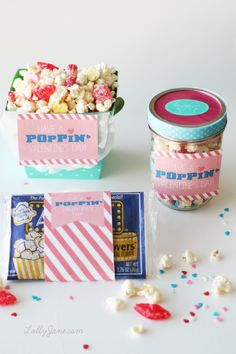 "Valentine Popcorn Mix Recipe PLUS free ""Have a POPPIN Valentine's Day"" tag!! Great gift idea!! (lollyjane.com)"