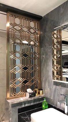 new Ideas metal screen design spaces Wall Partition Design, Wall Design, Design Design, Window Grill Design, Screen Design, Decorative Metal Screen, Metal Screen Doors, Folding Screen Room Divider, Home Room Design