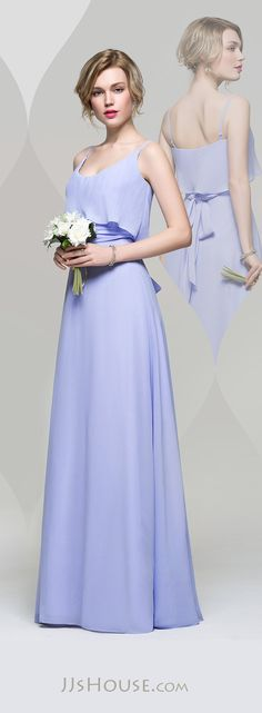 A-Line/Princess Scoop Neck Floor-Length Chiffon Bridesmaid Dress With Ruffle Bow(s) Lavender Bridesmaid Dresses, Bridesmaid Outfit, Bridal Wedding Dresses, Princess Line Dress, Evening Dresses, Prom Dresses, Fashion Dresses, Jjs House, Scoop Neck