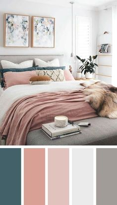 Best Bedroom Colors, Bedroom Colour Palette, Bedroom Color Schemes, Colourful Bedroom, Home Color Schemes, Apartment Color Schemes, Paint Colours For Bedrooms, Color Schemes With Gray, Bedroom Colour Schemes Inspiration