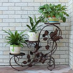 New Hanging Basket Planter Wrought Iron Free Standing Lawn