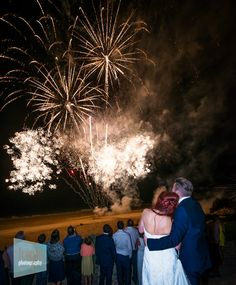 Wedding Photographers Cornwall ** Wedding Fireworks light up the sky at the Carbis Bay Hotel near St Ives in Cornwall