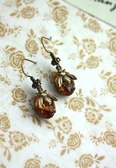 Bee Earrings. Vintage Golden Topaz Glass Jewel. Brass by Marolsha, $20.50