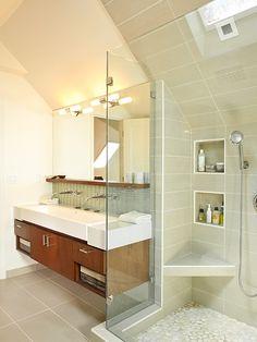 modern soft grey tile. modern sink