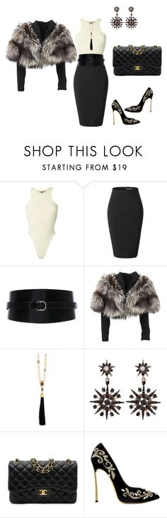 """""""Untitled #1645"""" by steflsamour ❤ liked on Polyvore featuring Yeezy by Kanye West, LE3NO, Isabel Marant, Lolita Lempicka, Oscar de la Renta and Chanel"""