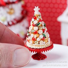 French Croquembouche for Christmas / Holidays - Miniature Food in scale - Made To Miniature Crafts, Miniature Christmas, Christmas Minis, Miniature Food, Miniature Dolls, Christmas Holidays, Christmas Crafts, Xmas, Croquembouche