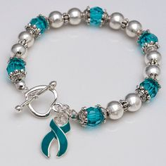 Ovarian Cancer, Cervical Cancer Teal Ribbon Beaded Stretch Bracelet, Cancer Awareness Jewelry