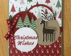 Stampin Up handmade Christmas card - Christmas wishes with reindeer