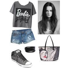 Başlıksız #14 by cansu-sakin on Polyvore featuring polyvore, moda, style, True Religion, Converse, Kensie and Pieces