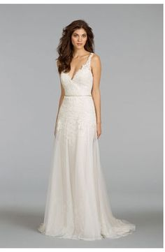 Bridal Gowns: Alvina Valenta Sheath Wedding Dress with V-Neck Neckline and Natural Waist Waistline
