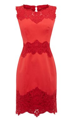 Karen Millen Cotton Lace Panel Dress- Coral