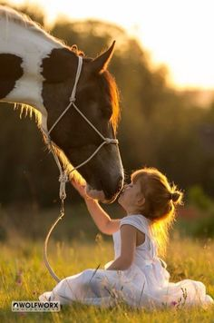 Awww, little girl kissing pretty Paint Horse with her pretty little self sitting down so sweetly in the grass.