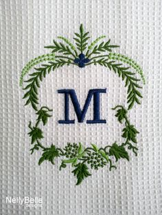 Monogrammed towel. Blue and greens on white cotton waffle weave towel. NellyBelle Designs