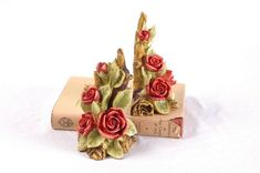 Bookends Rose Painted Resin Romantic Bookends Shabby Chic Vintage Home Decor Floral Flower Nature Theme NOS Mint Vintage Table, Vintage Home Decor, Unique Vintage, Rose Lily, Valentines Day Hearts, Rose Buds, Floral Flowers, Red Roses, House Warming