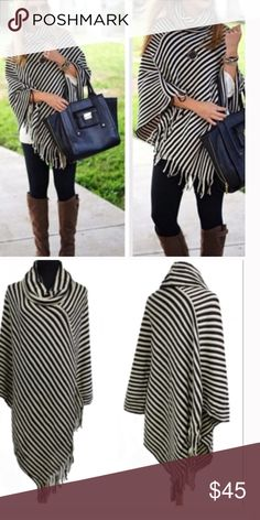 •striped poncho• Poncho features fringed edges and cowl neck.  Material is 100% acrylic.    ❌PRICE FIRM UNLESS BUNDLED❌ Sweaters Shrugs & Ponchos