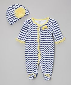 Baby Essentials Navy Stripe Footie & Beanie - Infant by Baby Essentials #zulily #zulilyfinds
