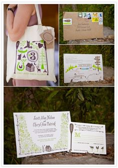 Love the tote bag and the bush themed invites