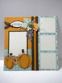 Stampin' Up Gently Falling Thanksgiving Scrapbook Page Bring on Fall Pages!  Stampin' Up! Ovals and autumn leaves bigz die!