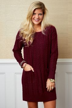 Promise To Keep Burgundy Sweater Dress at reddressboutique.com