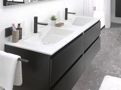 New Bathroom Ideas, Modern Bathroom, Small Bathroom, Master Bathroom, Black White Bathrooms, Bathroom Interior Design, Bathroom Storage, Home Organization, Houses