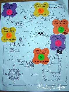 Reading Confetti: Preschool Treasure Maps a map to guide the kids in hunting for the eggs would be a great idea!
