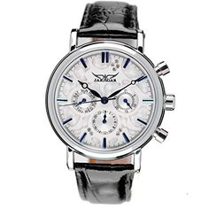 Jaragar Womens Luxury Leather Band Automatic Mechanical 6 Hands Crystal Diamond Wristwatch *** Click image to review more details. (Note:Amazon affiliate link)