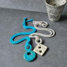 Aliquid Ceramic Pendant.  White and turquoise