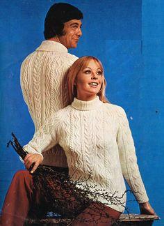 9627093075a womens   mens aran sweater knitting pattern PDF ladies aran jumper round or  polo neck Vintage