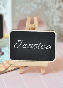 "Looking for place cards to go with your stylish event? Well, you're in luck! Our Chalkboard Place Cards are perfect for any occasion and any theme. With a vintage chalkboard backdrop, these mini chalkboards add the perfect touch of classy elegance, without interrupting your color palette!  Features and Facts:  Size:  2.5"" x 3.25""  Easels are included  Use chalk or chalkboard ""markers"" for easier writing. Not included. Alternate View"