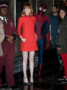 Spidey along for the ride: Although Andrew Garfield plays the masked hero in the movie, it wasn't revealed who the man behind this costume was