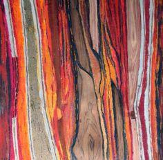 """""""Vibrazioni in rosso"""" legno cartone rame acrilico cm 60 x 60"""