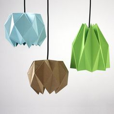 """The word """"origami"""" comes from """"ori"""" which means """"folding"""" and """"kami"""" meaning """"paper"""". This technique originates from Japan and the most famous origami Diy Origami Lampe, Origami Lights, Origami Lampshade, Origami And Kirigami, Origami Paper, Diy Paper, Paper Crafting, Design Origami, Papier Diy"""