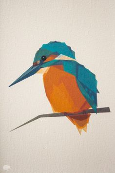 Blue Kingfisher Geometric art Minimal Bird by TinyKiwiCreations